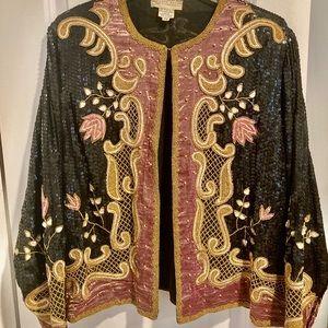 Vintage  JUDITH ANN Silk Sequin Beaded Jacket